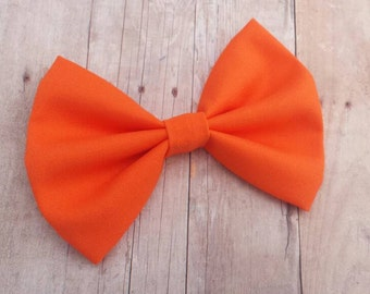 Bright Orange Solid Fabric Hair Bow Clip or Headband / Orange Bow / Orange Hair Bow / Orange Bow Clip / Orange Bow Headband / Halloween Bow