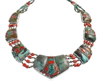 Old Tibetan silver necklace with stones Turquoise and Coral Jewelry Unique