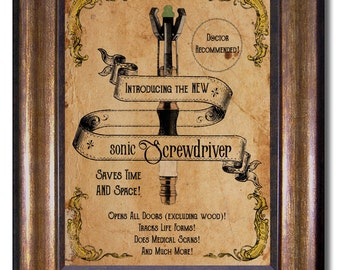 Doctor Who - Sonic Screwdriver Vintage Style Print - Multiple Sizes - 11x14, 8x10, 5x7, 4x6 (inches)