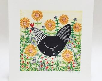 Black Hen Among Yellow Flowers Art Print, 30x30cm