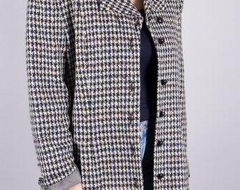 Vintage coat Karierter van laack - jacket - anorak - black and white - elegant - color - 80s coat - vintage 1980 -.