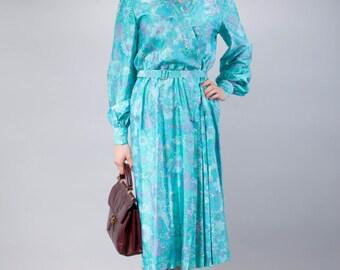 50s pure silk dress - dress in pure silk - turquoise silk dress - 50s dress - elegant vintage dress - long sleeve dress - dress with print