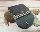 Miniature Book Keepsake leather . Colored mini sketchbook . Original present . blue leather book . Blue pages men gift . Child dreams