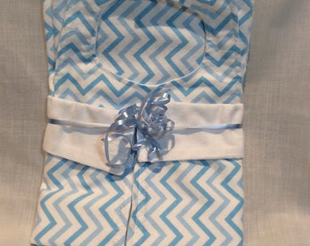 Bib, Burp Cloth, and Receiving Blanket Gift Set- Blue Chevron