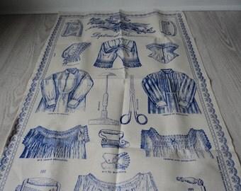 French vintage cotton printed tea towel / torchon  (00812-00813)