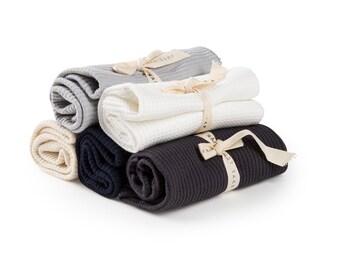 Tea Towel Kitchen Towel Set, Flour Sack Towel Organic Cotton Waffle Weave Towel, Housewarming Gift - Set of 3