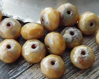 Creme Brulee Rondelle Beads, Czech Beads, Bead Supplies cgsc00046