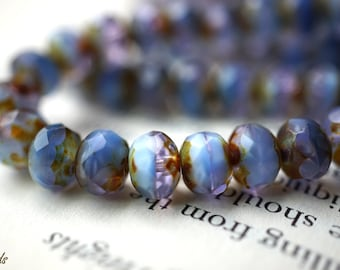 Blue Lavender, Rondelle Beads, Czech Beads, N1849