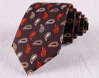 vintage floral neckties.brown red tie.cotton ties for men.men's narrow neckties for wedding.customized floral necktie.groomsmen tie+nt148