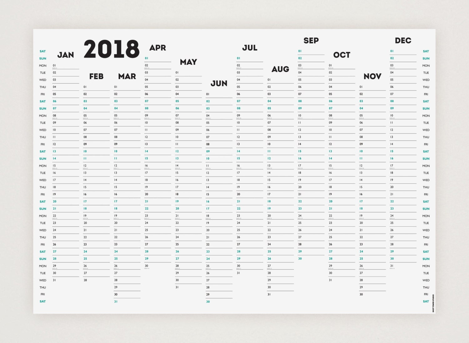 Wall Planner 2019 A3 Double Sided - Laminated - 2019 Wall ...