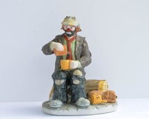 Dining Out - Miniature Emmett Kelly Jr Porcelain Circus Clown by Flambro