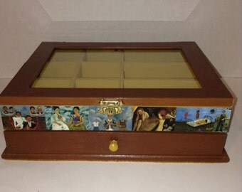 Frida Kahlo, feat. Frida's Self-portraits, Jewelry box with drawer, dividers and glass top.