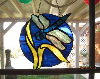Dragonfly stained glass suncatcher