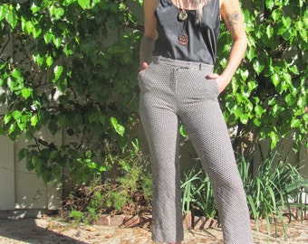 Black and White Zig Zag Pants Made In Italy Wool 70s 80s Vintage Small High Waisted