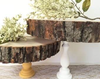 "Wooden Cake Stand 7-10"", Cupcake Stand, Wooden Tree Slab, Party Decor,Dessert Table Decor,Wedding Cake Stand, CakePop Stand, Rustic Country"