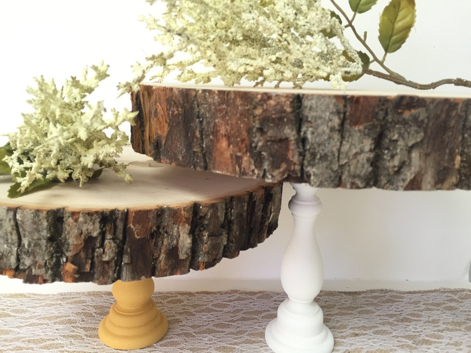 wooden cake stand 7 10 cupcake stand wooden tree slab. Black Bedroom Furniture Sets. Home Design Ideas