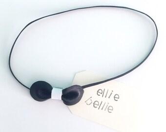 Mini Black Leather Bow Headband