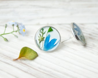 Real flower earrings studs - small resin earrings, bridesmaid gifts on a budget, steel stud earrings for women, botanical jewelry