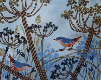 Original acrylic painting - seed heads and birds - nuthatch