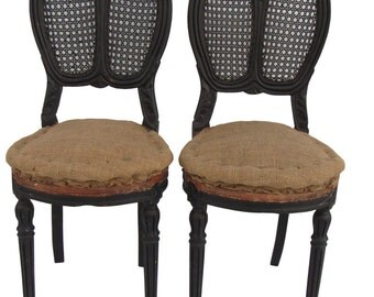 Antique Pair French Carved/Caned Chairs Antique French Chairs Paris Apartment Chairs Deconstructed Chairs Upholstered Jute Chairs Hemp Chair
