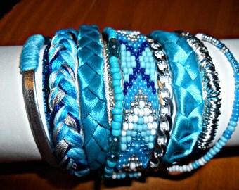 "Bracelet Manchette Brésilien ""lightning"" Turquoise & Argent ©CloEthniK"