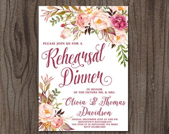 Printable Rehearsal Dinner Invitation, Floral Rehearsal Dinner Invitation