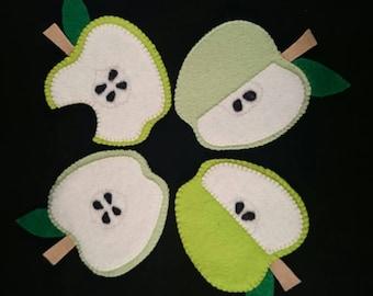 Wool Felt Apple Coasters x4