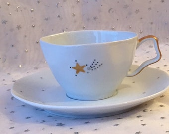6 cups in tea or coffee - grey - gold star pattern