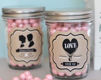 Vintage Wedding Mini Mason Jars(set of 24)Mason Jars,Personalized Mason JarsEB2310WV