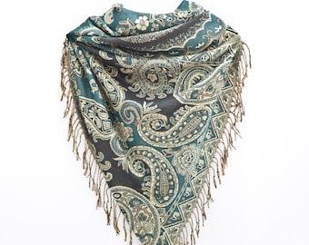 Paisley Shawl Turquoise Boho Scarf Pashmina Scarf Valentines Day Gift Fashion Shawl Mothers Day Gift Tribal Print Romantic Gift