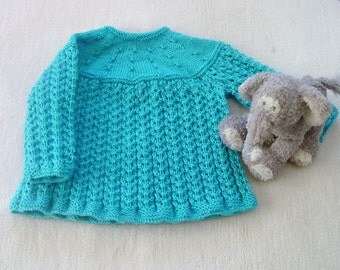 Silk Cashmere Baby Dress, 0-3 Month Baby dress,Turquoise Baby Dress, Knitted Baby Dress, Handmade Baby Dress, Baby Girls Dress, Baby Dress