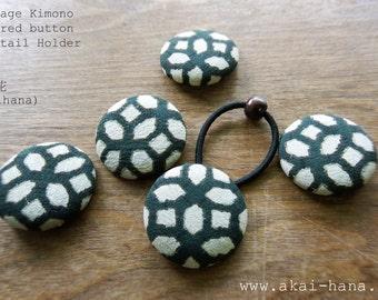Vintage Kimono Covered Button Ponytail Holder, Kikkou (Tortoiseshell)