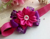 Baby Headband/ Flower Head Band/ Baby Girl Hair Accessory/ Kanzashi fabric flowers