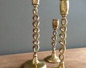 Set of 3 double helix vintage brass candlestick holders