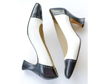 Black and white brogue spectator pumps with Louis heel SIZE 7 B