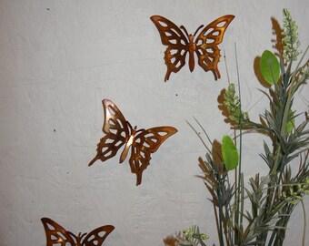 Copper Butterflies - Set of 3 - Butterflies - Wall Art - Metal Butterflies - Home Decor