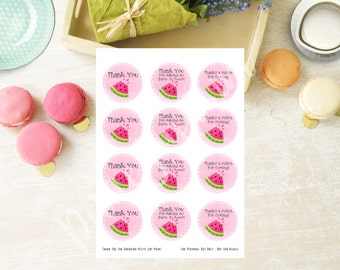 """SALE 2.25""""x 2.25"""" Watermelon Printable Digital Thank You Tags - Printable Favor Tags - Baby Shower - Birthday - Pink Tags, Instant Download"""