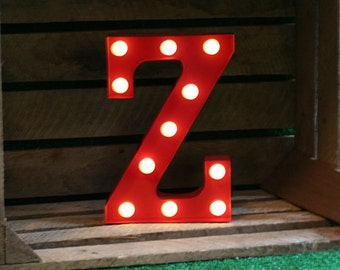 Vintage Carnival Style Marquee Light, Light up Letter Z - Battery Operated