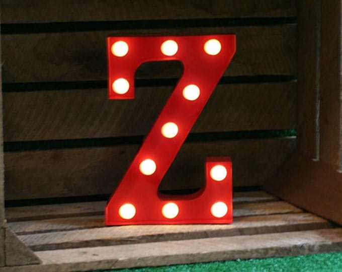 Vintage Carnival Style Marquee Light, Light up Letter Z - Battery Operated/Various Colours - Perfect Night Light/Gift/Wedding Decor