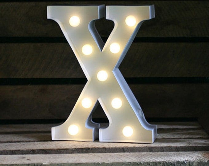 Vintage Carnival Style Marquee Light, Light up Letter X - Battery Operated/Various Colours - Perfect Night Light/Gift/Wedding Decor