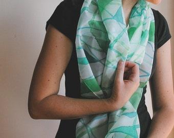 Green Silk Scarf, geometric scarf, handpainted silk