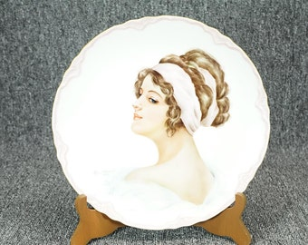 "Vintage Alice Stewart Collector Plate Victorian Woman Gold Rim 10"" C. 1976"