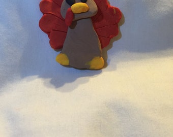 Handmade polymer clay turkey figure