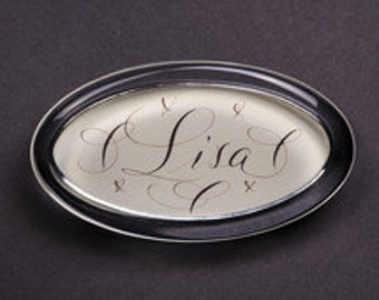 Custom Monogram Name Oval Glass Paperweight In Box