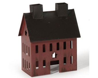 Miniature Painted Burgundy Tin House-4 x 2.5 x 5 inches for Fairy gardens,dollhouse.train,model rr,container garden