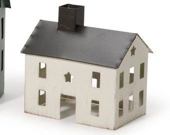 Painted Tin House - Cream - 4 x 2.5 x 5 inches for Fairy gardens,dollhouse.train,model rr,container garden