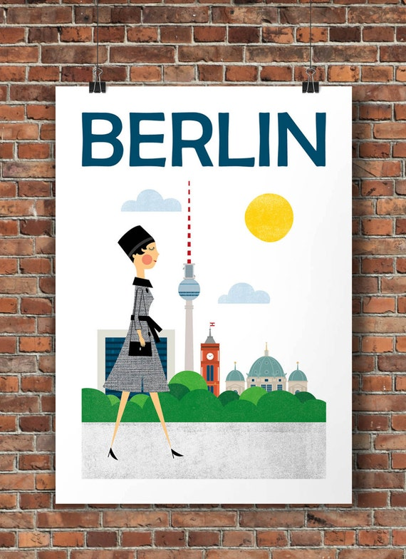 berlin travel poster germany city print mid century by tomasdesign. Black Bedroom Furniture Sets. Home Design Ideas