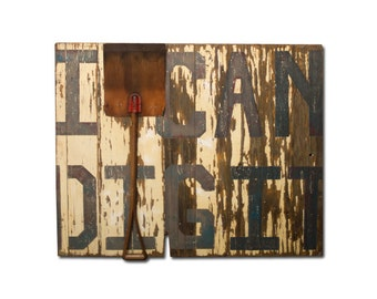 I Can Dig It, Large Scale Mixed Media Wall Art, Acrylic Painting, Rustic Salvaged Barn Door