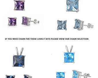 Gift multi color fire princess shape diamond solitaire pendant stud earrings set 925 Sterling Silver free world wide shipping
