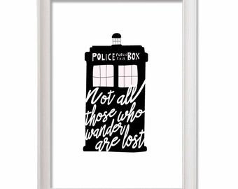 """Doctor who print Tardis-Tolkien Print  quote """"not all those who wander are lost""""  instant download - téléchargement direct"""